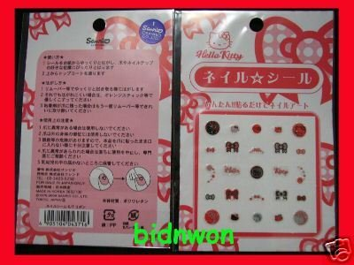 Japan Sanrio Hello Kitty Glitter Nail Art Sticker Decal girls x 3 Pcs Set