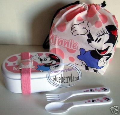 Disney Minnie Mouse Bento Lunch Box fork spoon Belt Bag set 5p