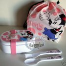 Disney Minnie Mouse Bento Lunch Box fork spoon Belt Bag set 5p