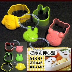 Japan SUSHI Animal Bear Dog Bunny Rice Mold Stamp Maker mould