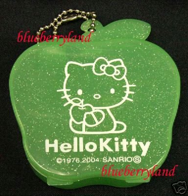 Japan Sanrio Hello Kitty Apple Women Ladies Girl Accessories Box Case  Green