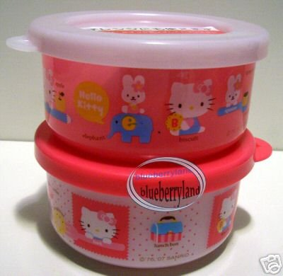Sanrio Hello Kitty Snack Box Food Container Case X 2 Pcs