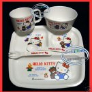 Japan Sanrio HELLO KITTY Baby Feeding Gift Set Cup Plate Fork Spoon