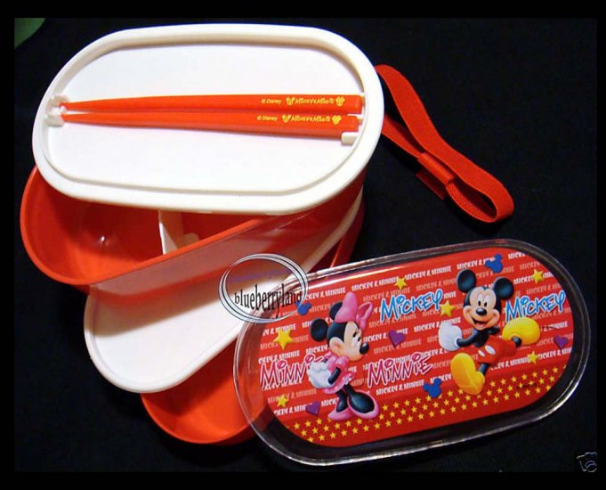 Disney Mickey Mouse 2-tier Bento Lunch Box Chopsticks Belt 3 Pcs Set Red