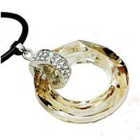 Womens Ladies Cosmic Ring Golden Shadow Pendant Necklace Choker with Swarovski Crystal