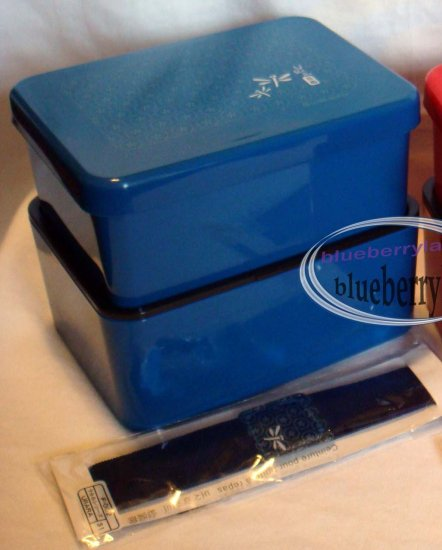 Japan 2-Tiered Bento Lunch Box w/ Belt Food Container x 1 Set Blue