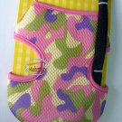 "Japan Puppy Dog Apparel Camo Mesh Harness Vest & Lead Leash Set ~ Medium 15"" - 19"" Pink"