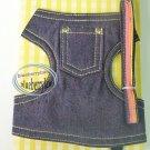 "Japan Puppy Dog Apparel Denim Harness Vest & Lead Leash Set ~ Medium 15"" - 19"" (BG)"