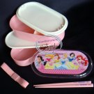 Disney Princess Pink 2-tier Bento Lunch Box Chopstick Belt 3 Pcs set case