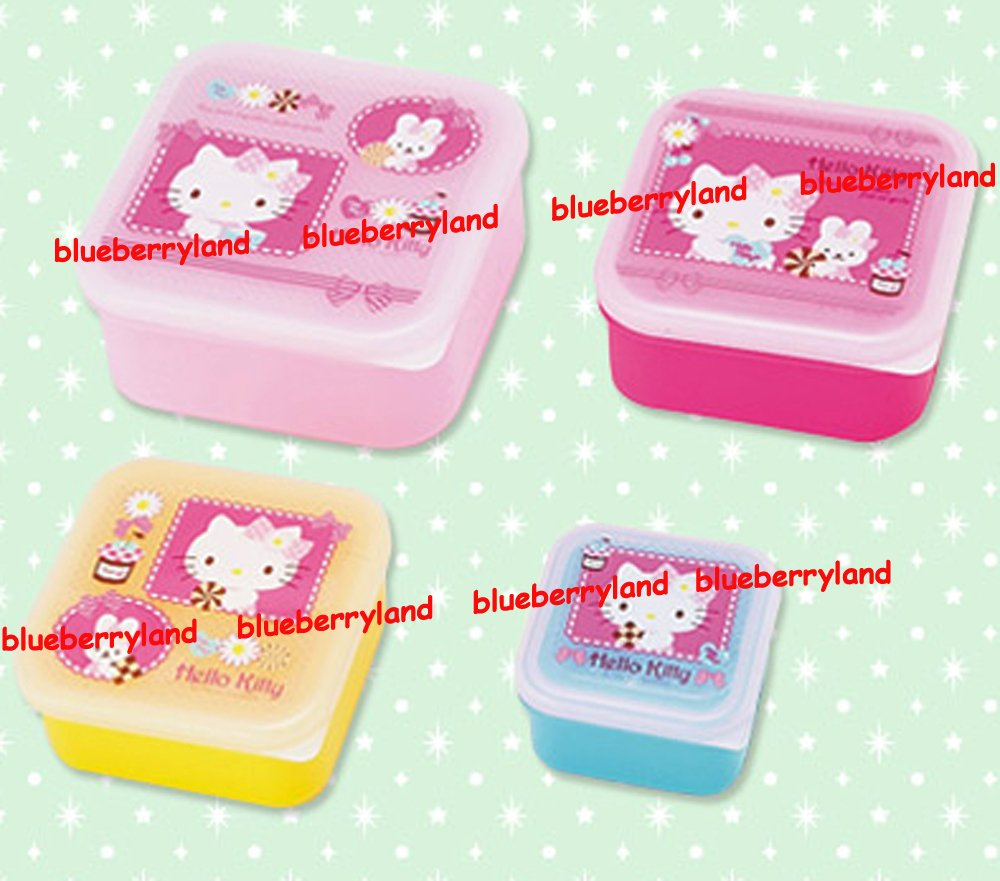 sanrio hello kitty bento lunch box food container case 4pc set k11. Black Bedroom Furniture Sets. Home Design Ideas
