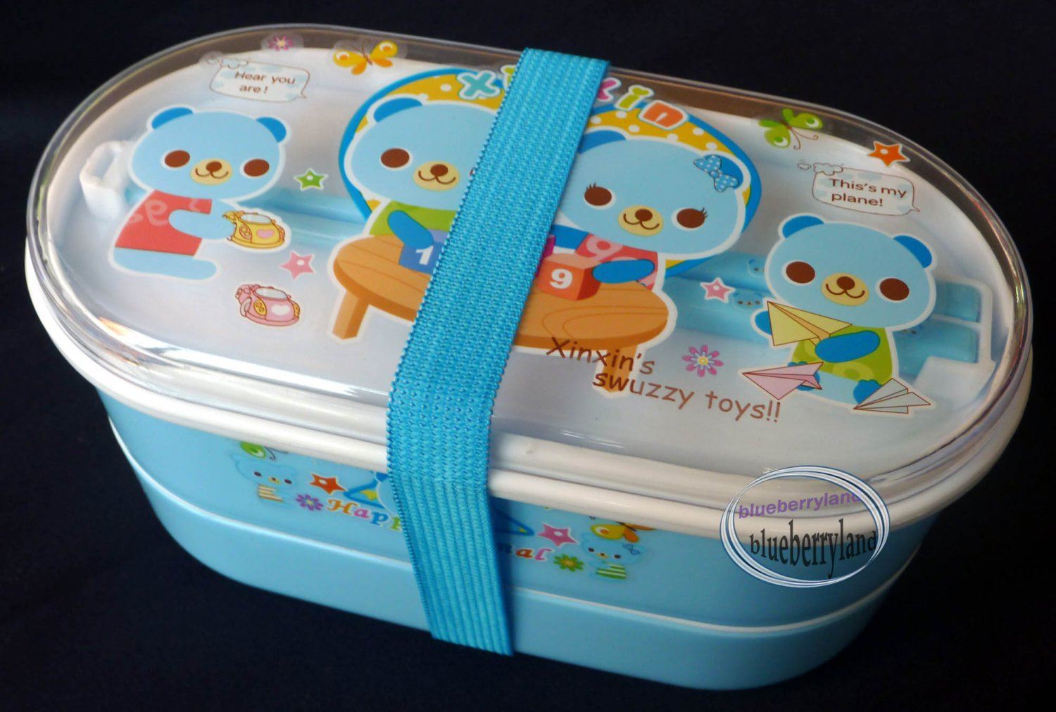 2-tiered Bento Lunch Box Food Container 3 pcs Set kids Bear