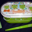 2-tiered Bento Lunch Box Food Container 3 pcs Set kids Frog