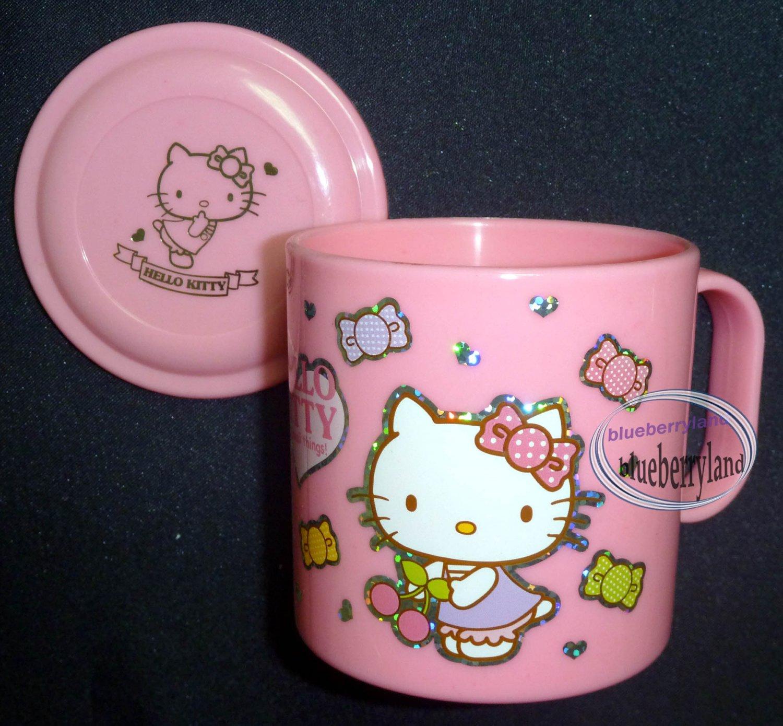 Sanrio HELLO KITTY Plastic Cup mug  with Handle & Lid  kids child