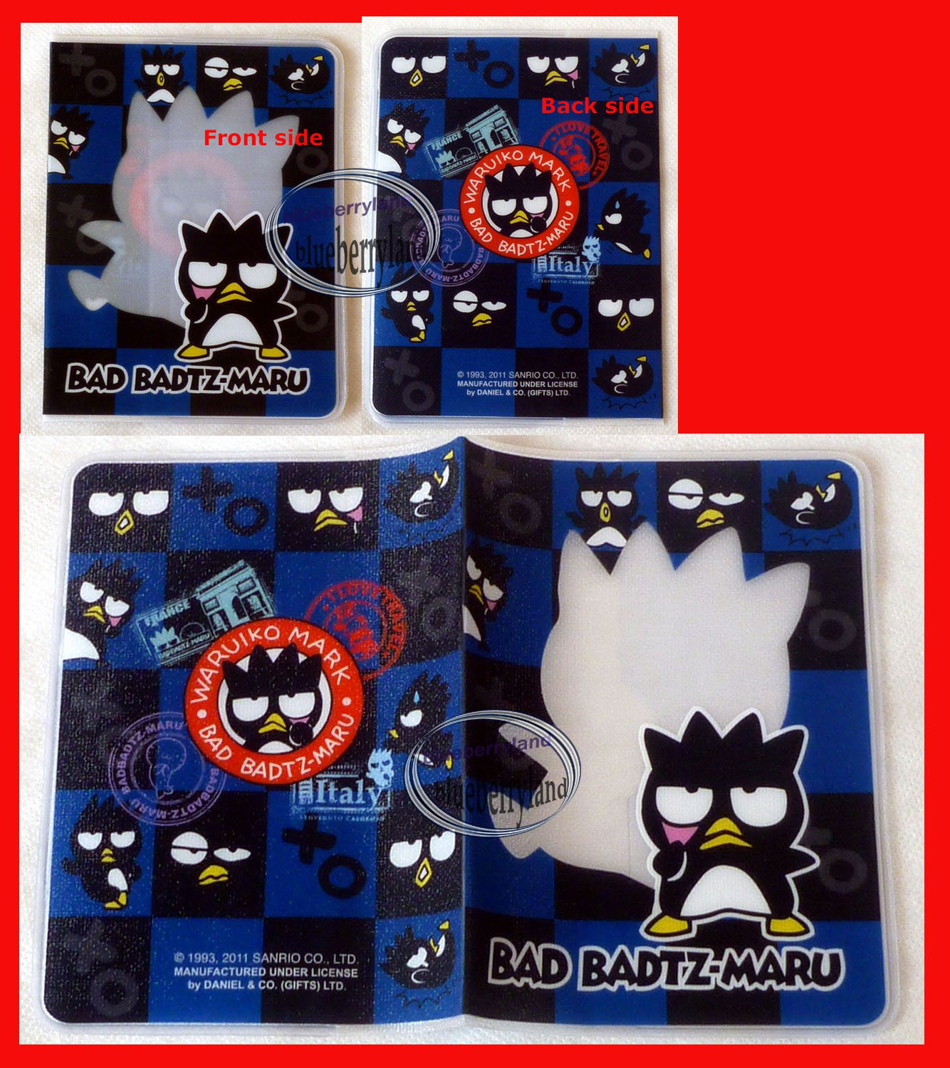 Sanrio Bad Badtz Maru XO Passport Holder cover travel TB