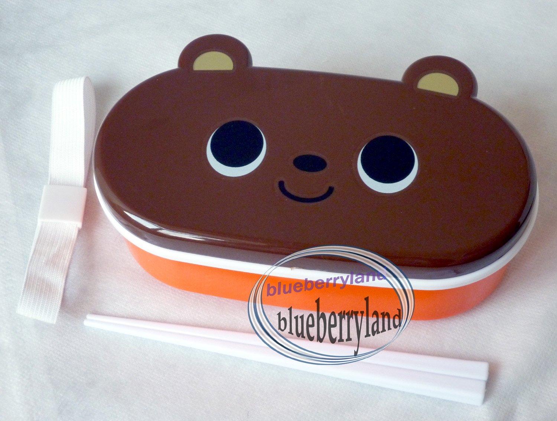 japan bear bento lunch box chopsticks strap food container case sets 3 pcs. Black Bedroom Furniture Sets. Home Design Ideas