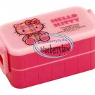 Sanrio Hello Kitty 2 tier BENTO Lunch BOX container case Pink Lid
