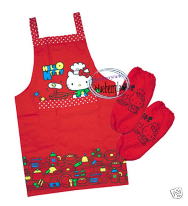 Sanrio Hello Kitty 62 x 71cm Apron & Sleeves set  for Teens Red