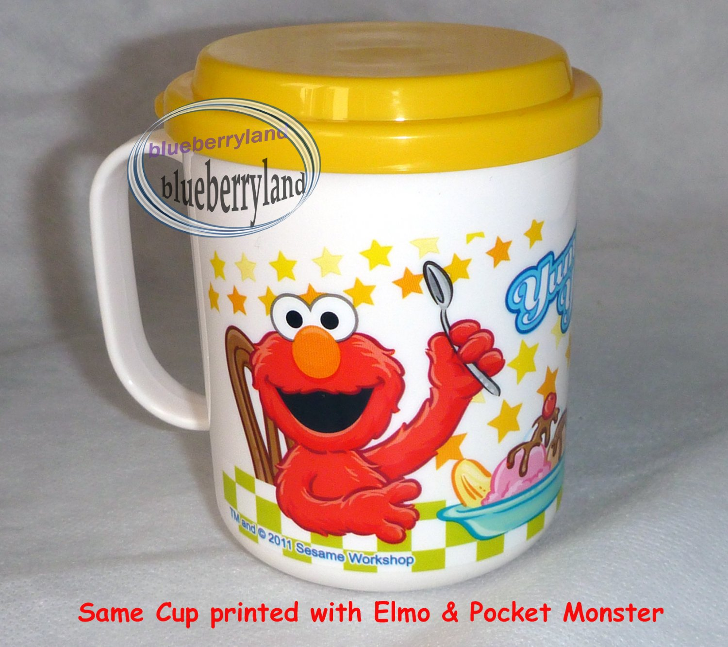 Sesame Streets Elmo COOKIE MONSTER Plastic Cup mug 230ml kids child