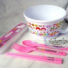 Sanrio Hello Kitty Children Feeding Bowl Fork Spoon Chopsticks 4 Pcs Set