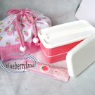 Japan Bento Pink Lunch Box Chopsticks Belt Bag 4 Pcs Set