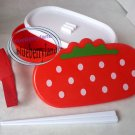 Japan Strawberry Bento Lunch Box Chopsticks Strap food container case sets 3 Pcs