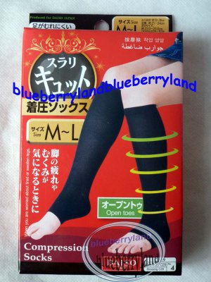 Japan Ladies Women Size M � L Open Toe Compression Socks 1 pair
