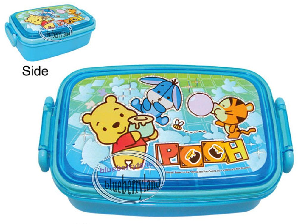 disney winnie the pooh bento lunch box food container case blue. Black Bedroom Furniture Sets. Home Design Ideas