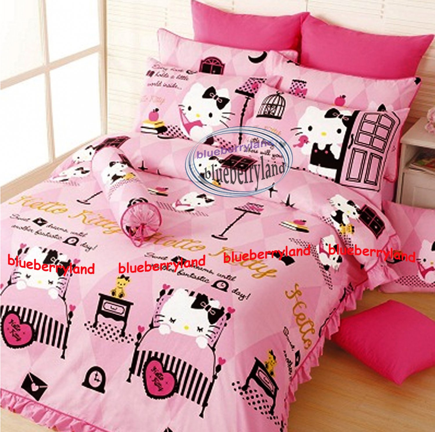 hello kitty bedding set queen size duvet cover fitted sheet 4pcs set