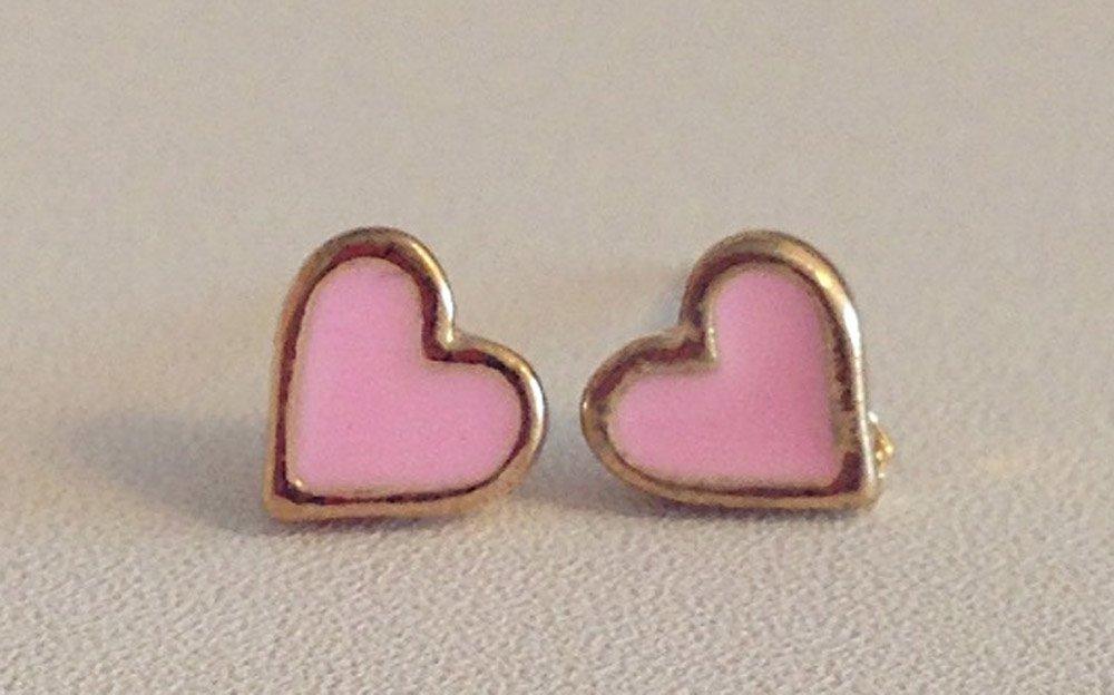 Pink Earrings For Girls Pink Enamel Heart Stud