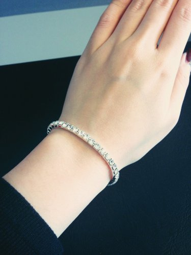 Silvertone Crystal Stretch Bracelet Fashion Bangle Jewelry Jewellery women ladies girl