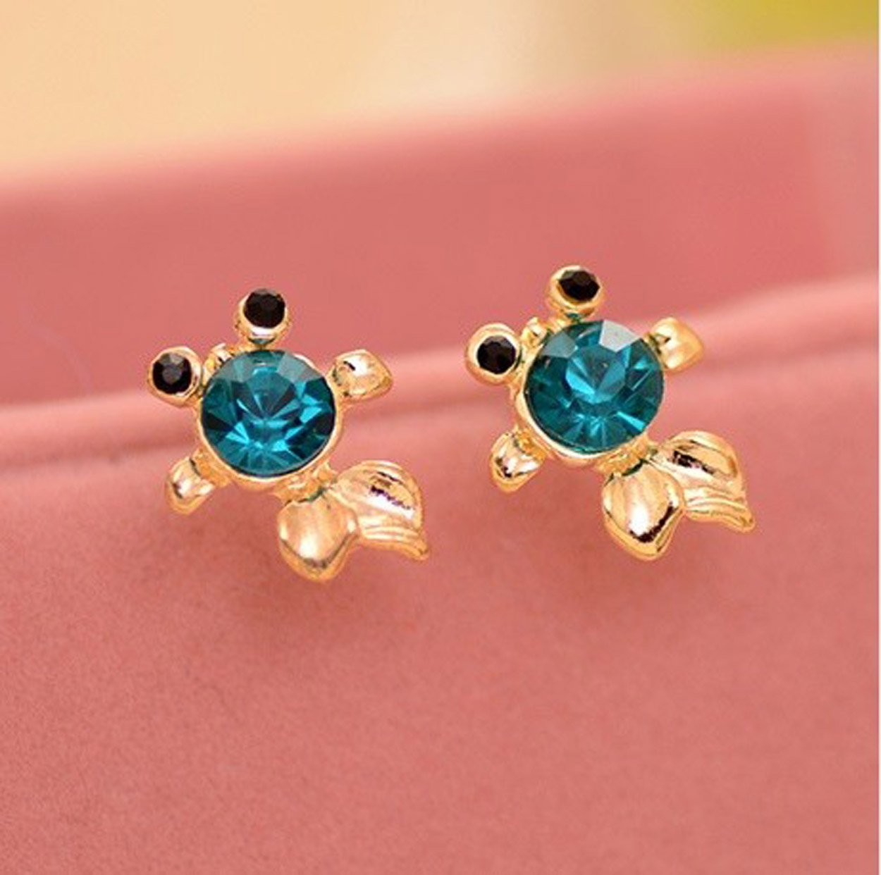 Blue Crystal Goldfish Stud Earrings Fashion Jewelry women ladies girls