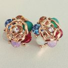 Gold Tone Rose Crystal Stud Earrings Fashion Jewelry Jewellery women ladies girl