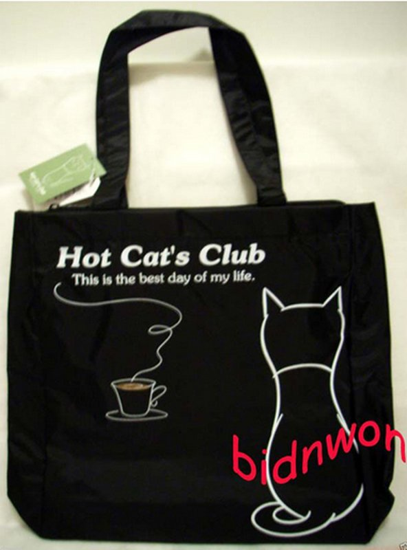 Hot Cat Club Shoulder Satchel Tote Back to School Bag Weekend Shopping Purse