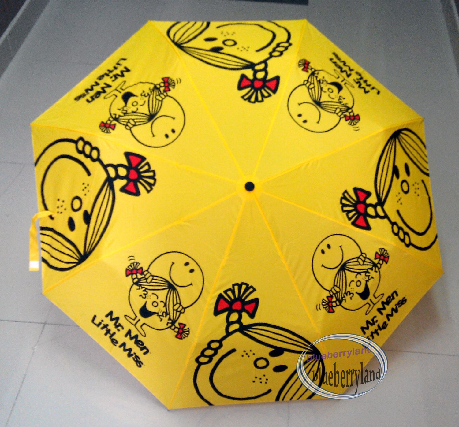 Mr. Men and Little Miss Small Compact Tote Folding Umbrella opens 38.5� Yellow