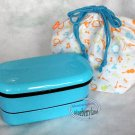 Japan Bento 2 tier Lunchbox Food Container Microwave OK 4p Lunch Box case  chopstick strap bag B