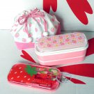 Japan Strawberry Candy Bento Lunch Box Food case cutlery Set