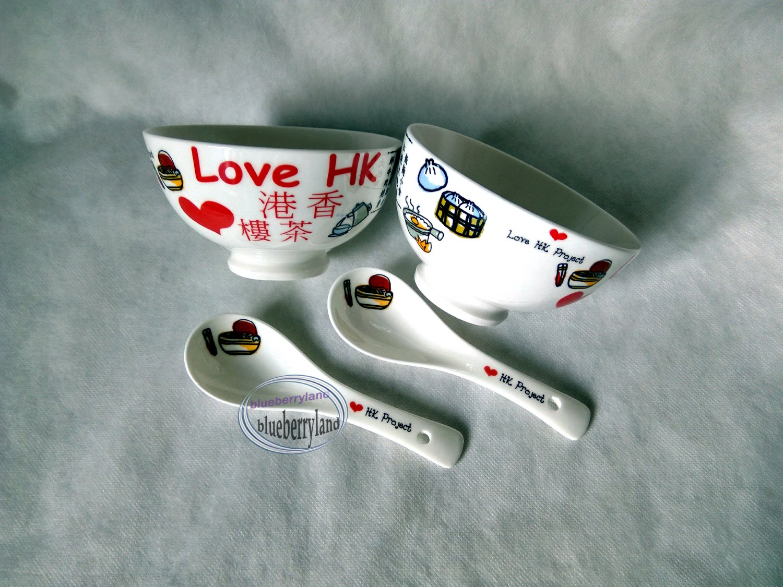 Hong Kong Themed Style Ceramic Bowls & Spoon Dinnerware set