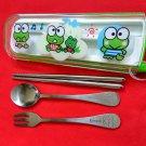 Sanrio Kerokerokeroppi Frog Fork Spoon Chopstick set cutlery bento B2