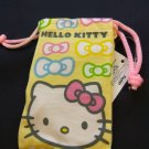 Sanrio HELLO KITTY Yellow Drawstring Bag Mobile Cell Phone BAGS MP3 DC case