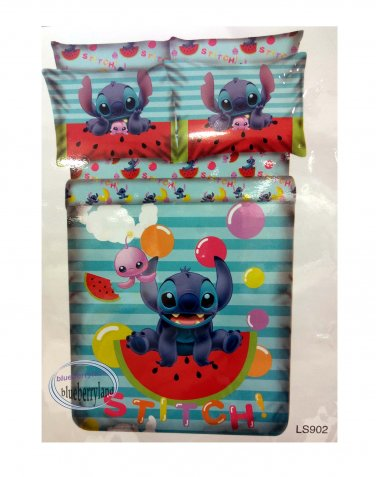 Disney Stitch Bedding Set Double size Duvet Cover Fitted Sheet 4pc set B