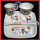 Japan Sanrio HELLO KITTY Baby Feeding Gift Set Cup Plate Fork Spoon