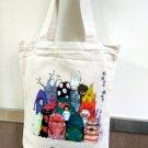 Gift Set of Name Tag & Designer Monster CANVAS TOTE BAG Shoulder Handbag Weekend School BAGs