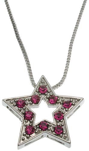 Pink Crystal Star Pendant with Box Chain