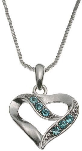 Aqua Crystal Heart Pendant Box Chain Necklace