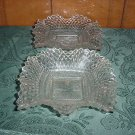 2  VINTAGE DIAMOND CUT CANDY DISHES