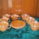 FIREKING PEACH LUSTRE  CUPS AND SAUCERS