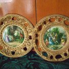 PAIR BRASS VICTORIAN WALL HANGING PICTURES