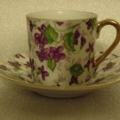 Demitasse Cup & Saucer Set Purple Flowers #10027