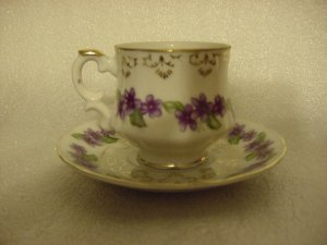 Inarco Japan Cup & Saucer Set Purple Flowers