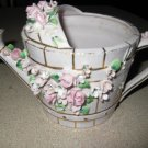 LEFTON CHINA CERAMIC WATERING CAN WITH APPLIED ROSES